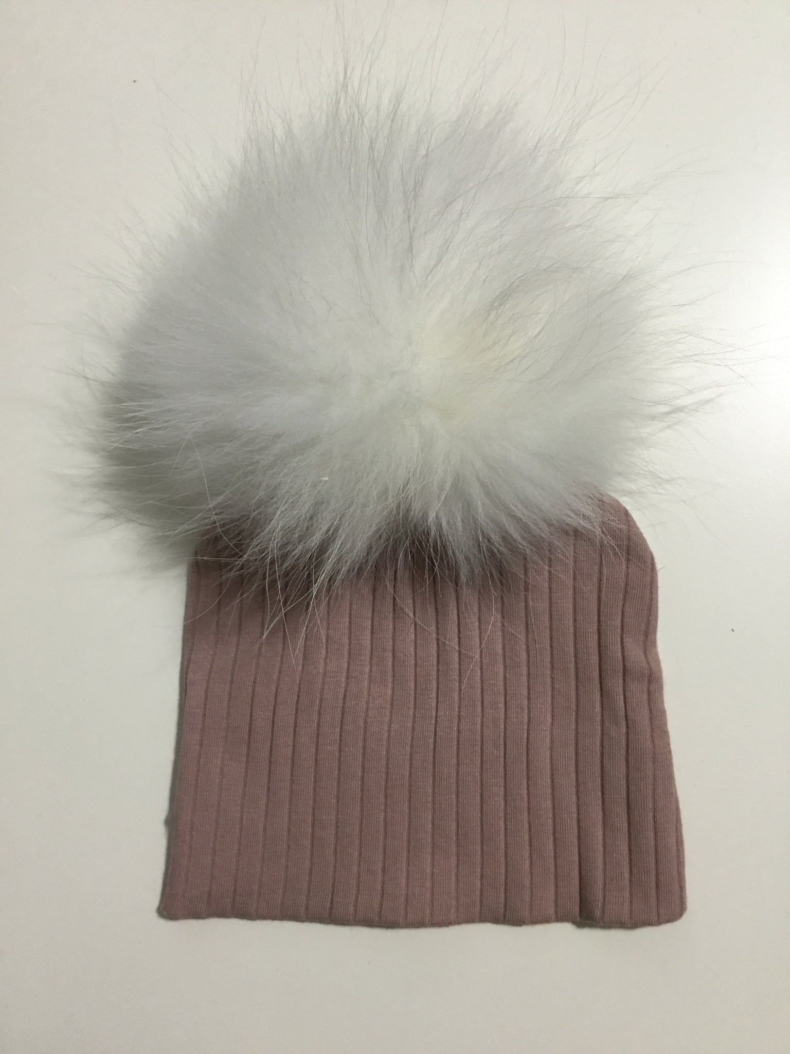 Maniere blush ribbed pom pom hat