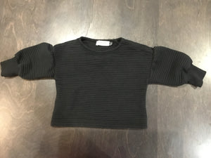 Motoreta black ribbed sweatshirt with puffy sleeves