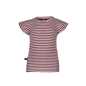 NOESER MAROON STRIPED T-SHIRT & SWEATER FABRIC SHORTS