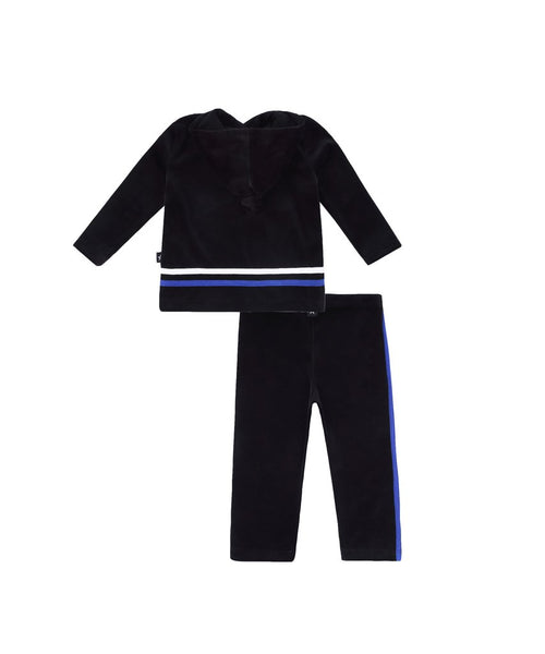 Petit clair velour 2 piece set with blue & white stripes