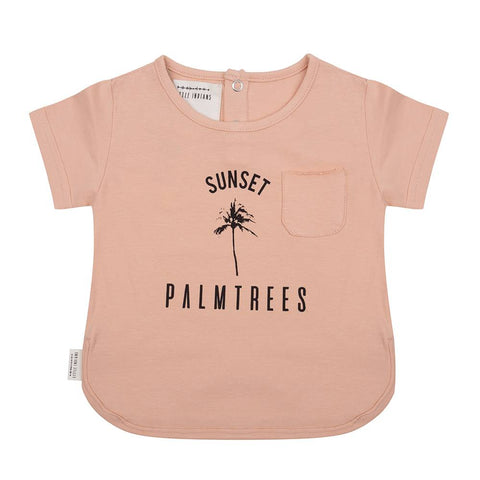 LITTLE INDIANS DUSTY CORAL SUNSET PALMTREES T-SHIRT