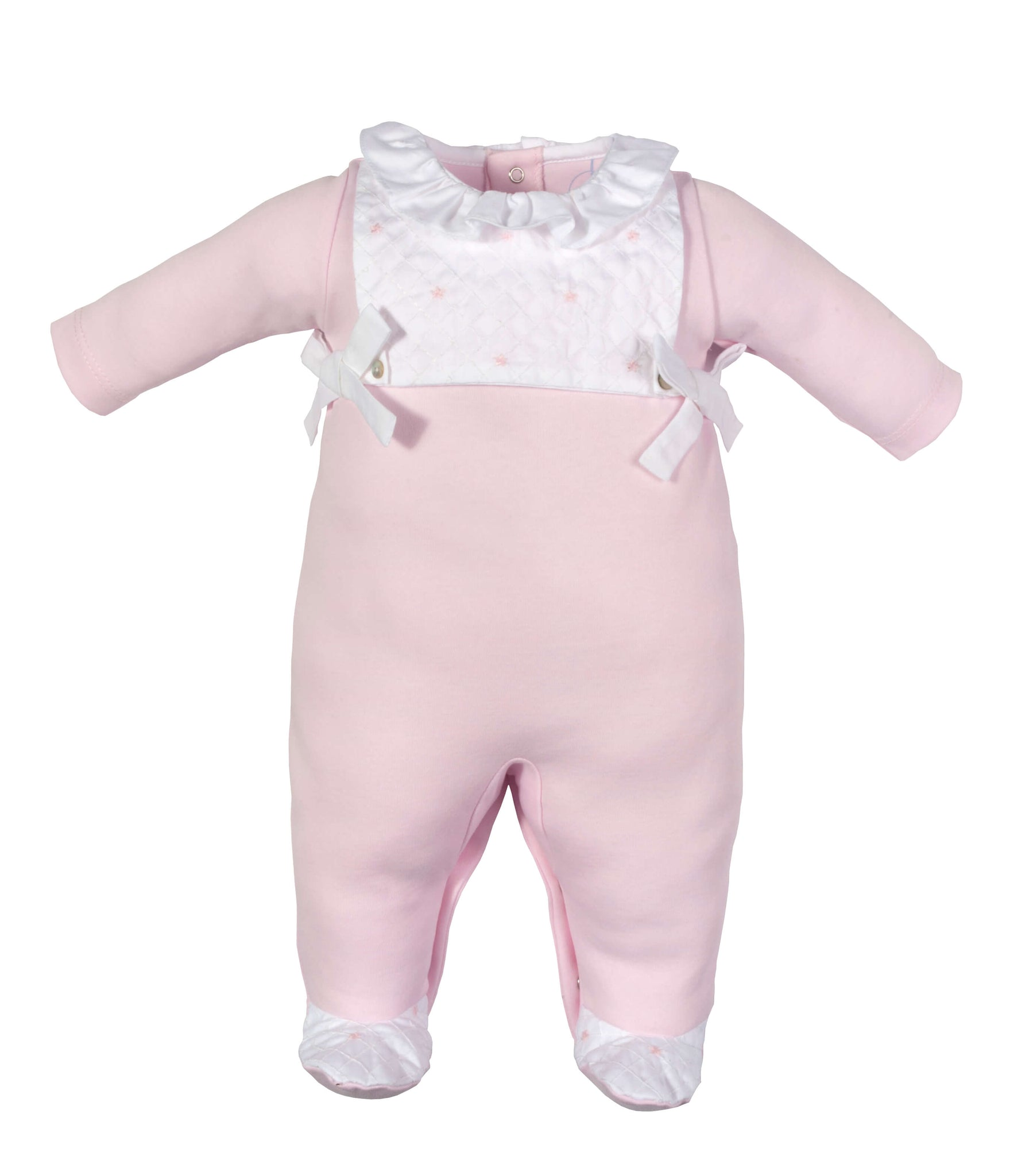 LARANJINHA PINK STRETCHIE WITH SMOCKING BIB DETAIL