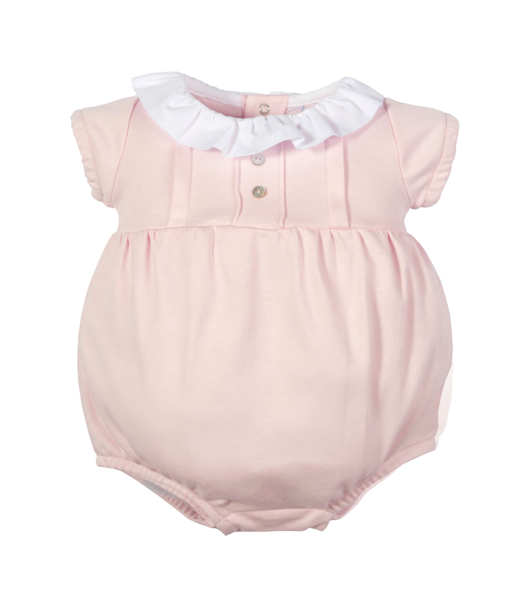 LARANJINHA PINK DRESSY ROMPER WITH RUFFLE AT NECK