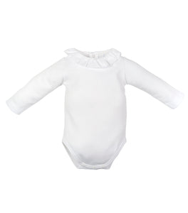 LARANJINHA WHITE RUFFLED ONESIE WITH PINK STICHING