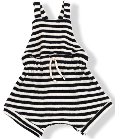 1+IN THE FAMILY NAVY STRIPED TERRY ROMPER