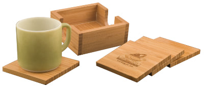 Square Bamboo 4-Coaster Set with Holder