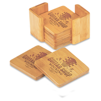Square Bamboo 6-Coaster Set with Holder