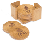 Round Bamboo 6-Coaster Set with Holder
