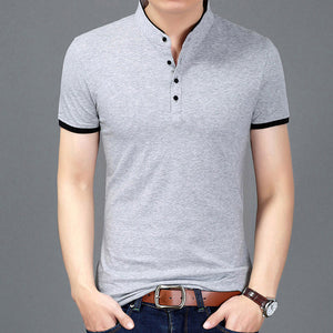 Summer New Fashion Brand Clothing Tshirt Men Solid Color Slim Fit Short Sleeve T Shirt Men Mandarin Collar Casual T-Shirts