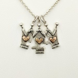 Crown 3 Piece Puzzle Set with Hearts or Faceted Gemstones