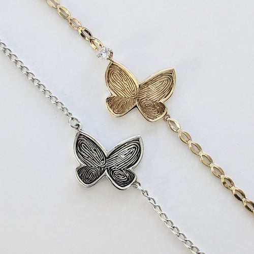 Butterfly Fingerprint  ID Bracelet -Custom Order