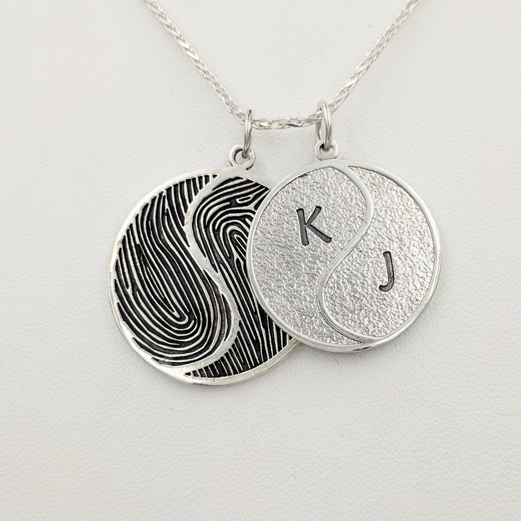 Fingerprint Yin/Yang Pendant or Key Ring