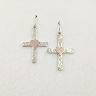 Cross Earrings with Symbolic Icons