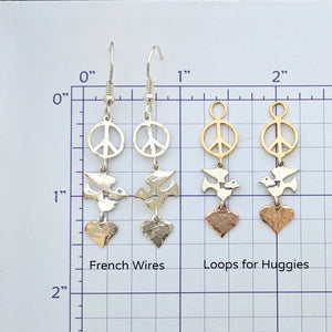 Let There be Peace on Earth...Peace Sign,Dove and Heart Earrings