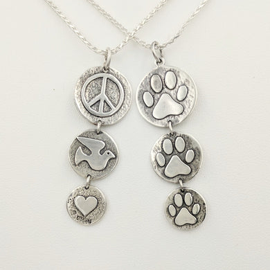 Puppy Dog or Kitty Cat Paw Print Tri-Coin Drop Reversible Pendant