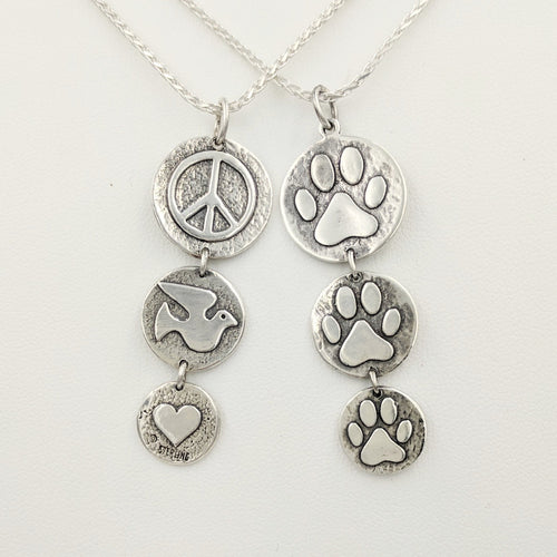 Puppy Dog or Kitty Cat Paw Print Tri-Coin Drop Pendant - Reversible