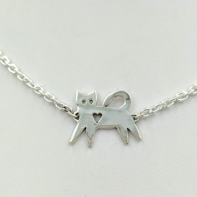 Kitty Cat Bar Necklace or  ID Style Bracelet - Sterling Silver