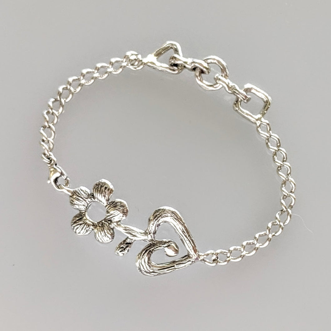 Begin Again Flower ID Bracelet -  Sterling Silver
