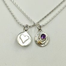 Load image into Gallery viewer, Celestial Celebration Petite Pendant or Charm with Heart and Gemstone - Reversible