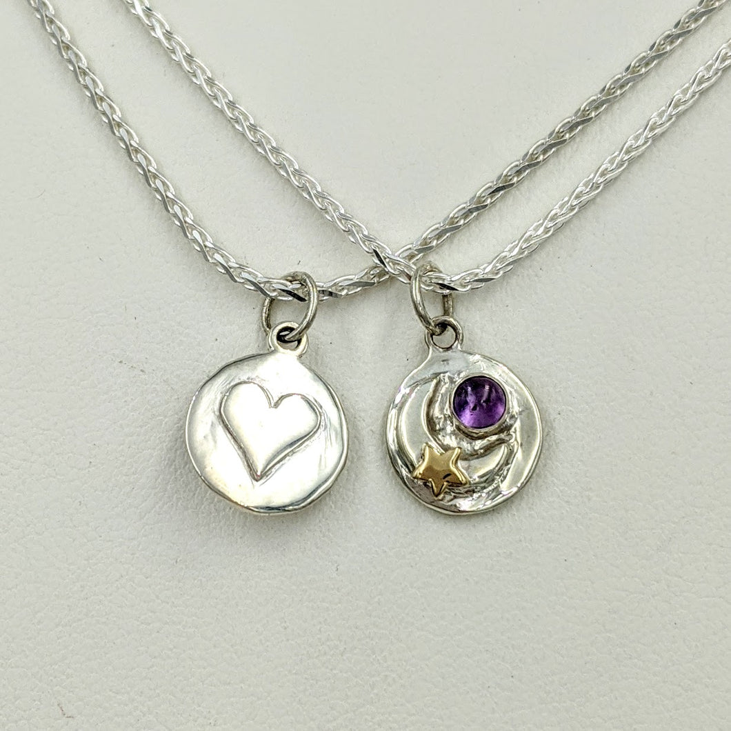 Celestial Celebration Petite Pendant or Charm with Heart and Gemstone - Reversible