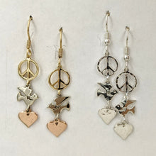 Load image into Gallery viewer, Let There be Peace on Earth...Peace Sign,Dove and Heart Earrings
