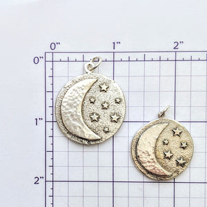 Celestial Crescent Moon and Stars Pendant