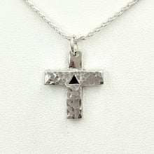 "Load image into Gallery viewer, Cross ""T"" Pendant - Sterling Silver with Symbolic Icons"