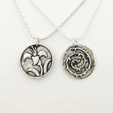 Lily and Thorns Reversible Pendant or Charm