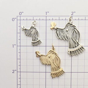 Rocky Doodle Silhouette Dog Pendant with or without Pearl Accent