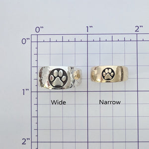 Cat and Dog Passion Paw Print Signet Ring in 14K Gold
