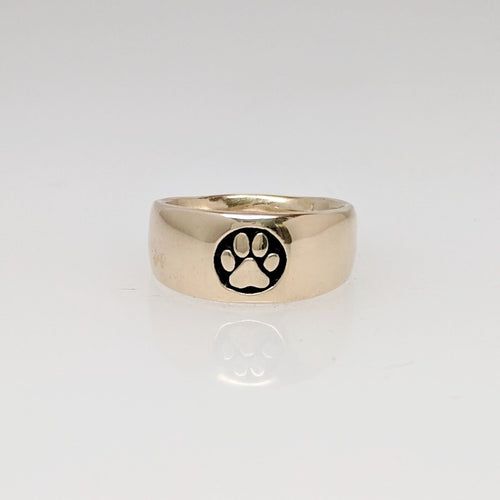 Cat and Dog Passion Paw Print Signet Ring