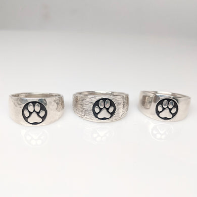 Cat and Dog Passion Paw Print Signet Ring in Sterling Silver