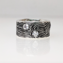 Load image into Gallery viewer, Custom Fingerprint Band with Gemstones