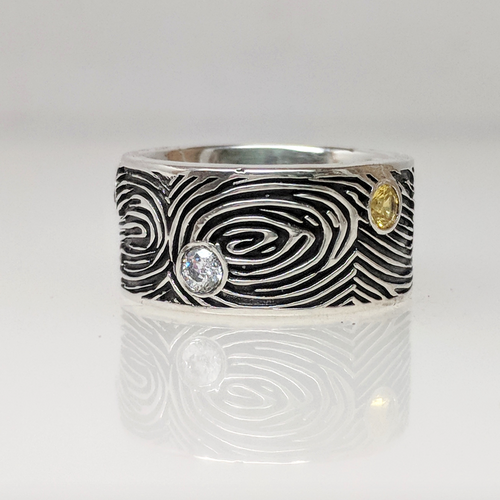 Custom Fingerprint Band with Gemstones