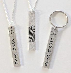Reversible Love Note And Fingerprint Bar Pendant or Key Tag