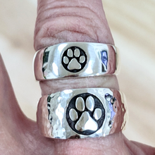 Load image into Gallery viewer, Cat and Dog Passion Paw Print Signet Ring in Sterling Silver