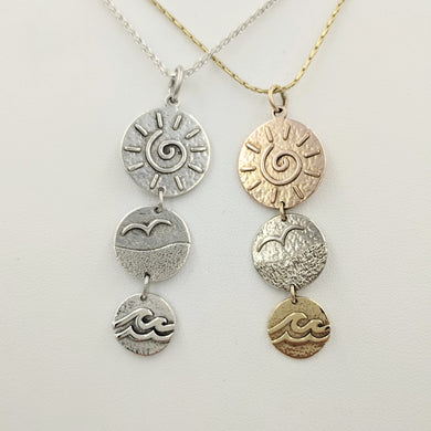 Seaside Treasures Tri-Coin Drop Pendant