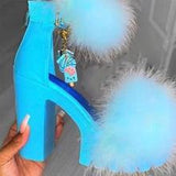 Chunky Heel Fur Sandals