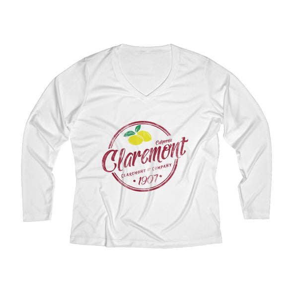 Women's Claremont Lemons, Long Sleeve Performance V-neck Tee