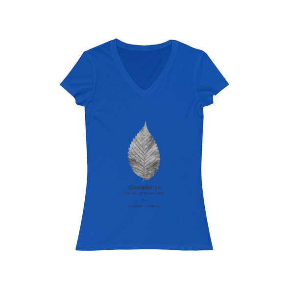 Women's Claremont Elm Leaf, Short Sleeve V-Neck Tee