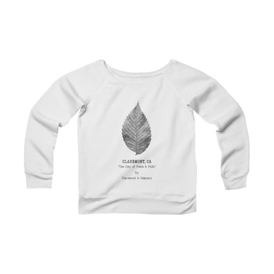 Women's Claremont Elm Leaf, Fleece Wide Neck Sweatshirt