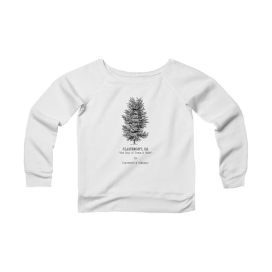 Women's Claremont Elm Tree, Fleece Wide Neck Sweatshirt