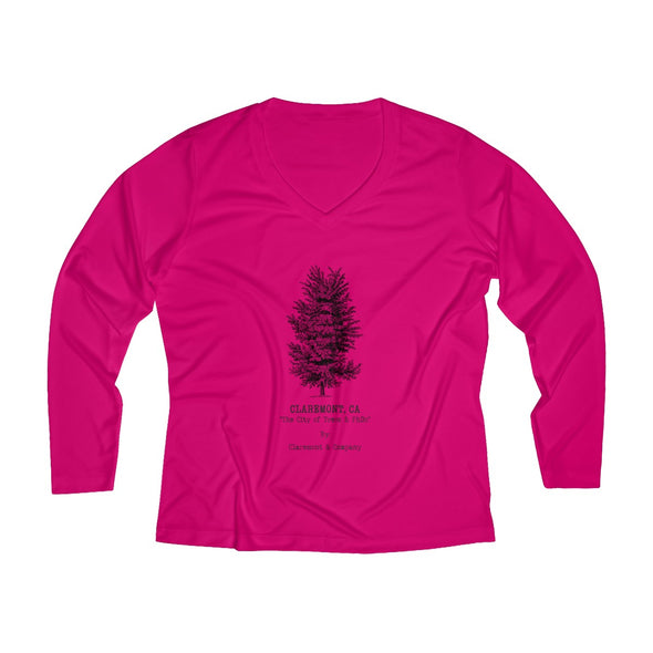 Women's Claremont Elm Tree, Long Sleeve Performance V-neck Tee