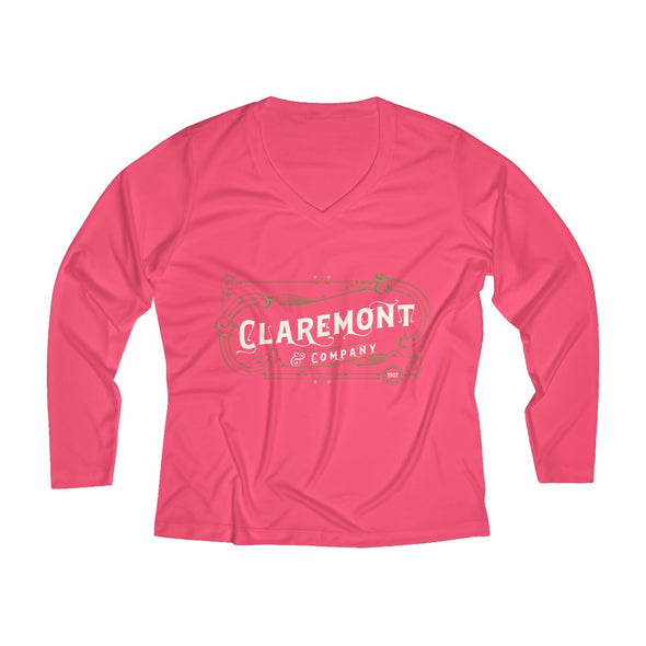 Women's Claremont & Company, Long Sleeve Performance V-neck Tee