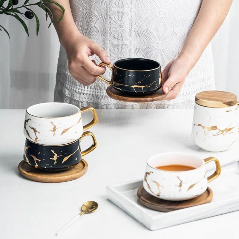 Marble & Wood Coffee Set