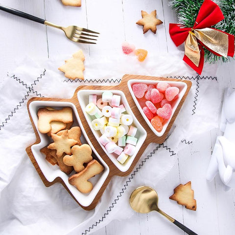 christmas tree snack plate