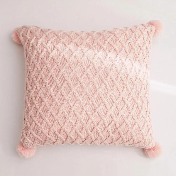 handmade pom pom cotton pillow