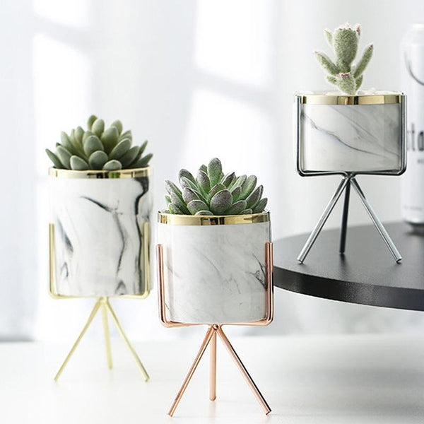 marble flower pots 3pc set