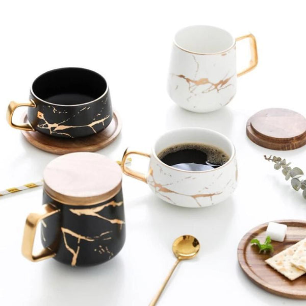 marble wood coffee set
