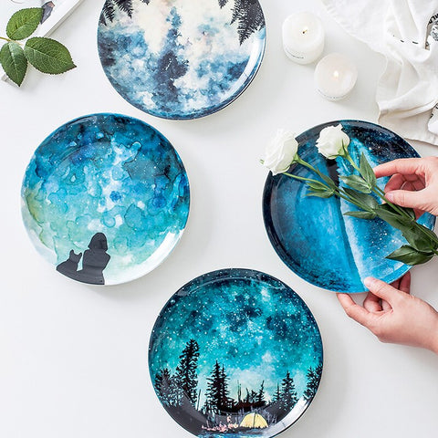 Starry Night Dessert Plates